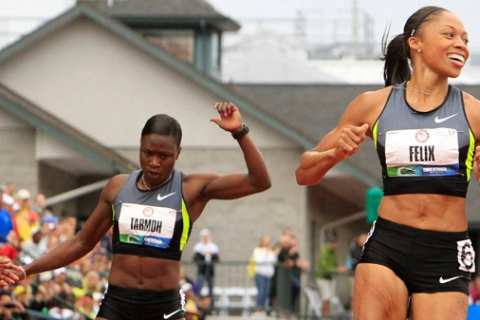 Allyson Felix wins the women's 200 meters final ahead of Jeneba Tarmoh at the U.S. Olympic athletics trials in Eugene
