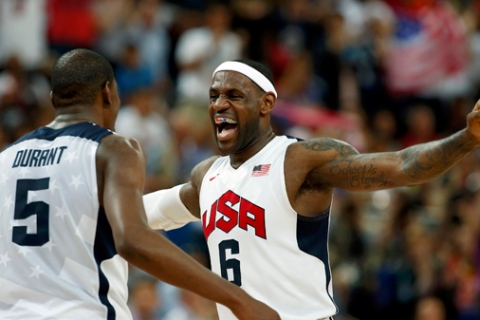 James of the U.S.celebrates with teammate Durant during their men's gold medal  basketball match at the North Greenwich Arena in London during the London 2012 Olympic Games