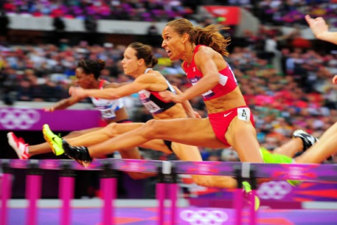 Lolo Jones competes in the Women's 100m hurdles semifinals